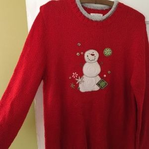 Christopher & Banks Red Snowman Christmas Sweater